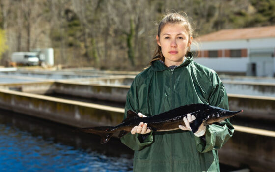 Female holding fish in fish farm