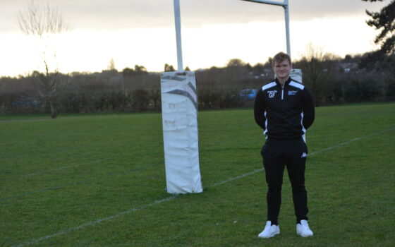 Moulton College rugby student Olly Frostick on campus